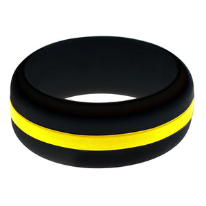 Mens Black Silicone Ring with Yellow Changeable Color Band