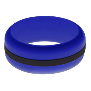 Mens Blue Silicone Ring with Black Changeable Color Band