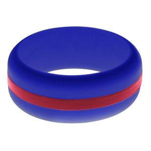 Mens Blue Silicone Ring with Cardinal Red Changeable Color Band