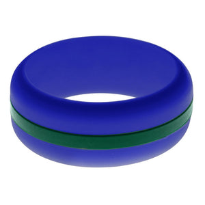 Mens Blue Silicone Ring with Dark Green Changeable Color Band