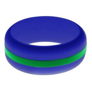 Mens Blue Silicone Ring with Green Changeable Color Band