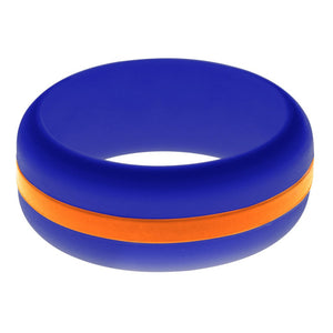 Mens Blue Silicone Ring with Orange Changeable Color Band