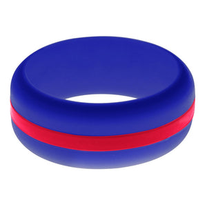 Mens Blue Silicone Ring with Red Changeable Color Band