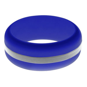 Mens Blue Silicone Ring with Silver Changeable Color Band