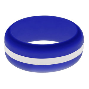 Mens Blue Silicone Ring with White Changeable Color Band