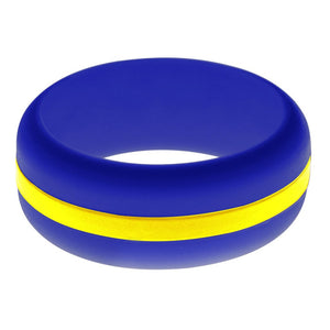 Mens Blue Silicone Ring with Yellow Changeable Color Band