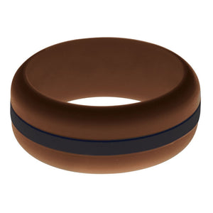 Mens Brown Silicone Ring with Black Changeable Color Band