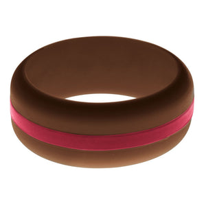 Mens Brown Silicone Ring with Cardinal Red Changeable Color Band