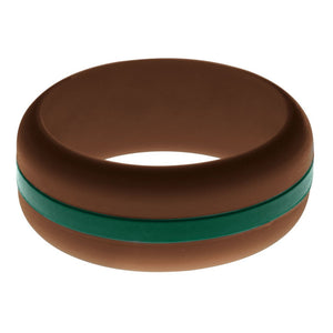 Mens Brown Silicone Ring with Dark Green Changeable Color Band