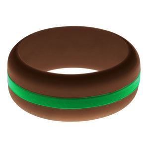 Mens Brown Silicone Ring with Green Changeable Color Band