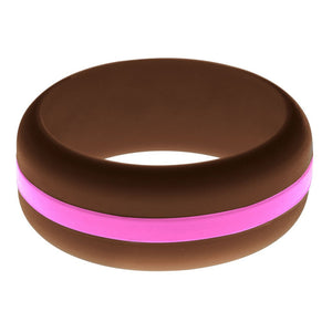Mens Brown Silicone Ring with Hot Pink Changeable Color Band