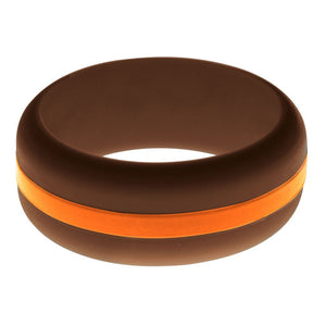 Mens Brown Silicone Ring with Orange Changeable Color Band