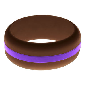 Mens Brown Silicone Ring with Purple Changeable Color Band