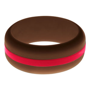 Mens Brown Silicone Ring with Red Changeable Color Band