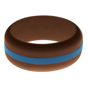 Mens Brown Silicone Ring with Steel Blue Changeable Color Band