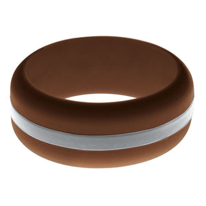 Mens Brown Silicone Ring with Silver Changeable Color Band