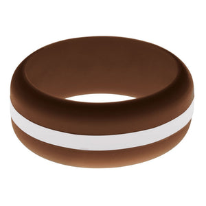 Mens Brown Silicone Ring with White Changeable Color Band