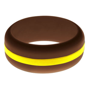 Mens Brown Silicone Ring with Yellow Changeable Color Band