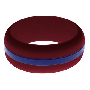 Mens Cardinal Red Silicone Ring with Blue Changeable Color Band