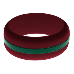 Mens Cardinal Red Silicone Ring with Dark Green Changeable Color Band
