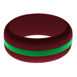 Mens Cardinal Red Silicone Ring with Green Changeable Color Band