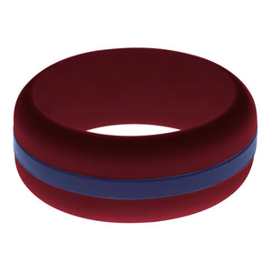Mens Cardinal Red Silicone Ring with Navy BlueChangeable Color Band