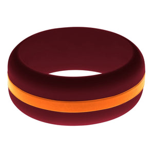 Mens Cardinal Red Silicone Ring with Orange Changeable Color Band