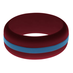 Mens Cardinal Red Silicone Ring with Steel Blue Changeable Color Band