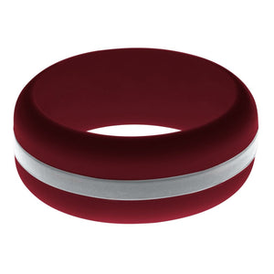 Mens Cardinal Red Silicone Ring with Silver Changeable Color Band