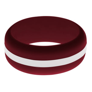 Mens Cardinal Red Silicone Ring with White Changeable Color Band