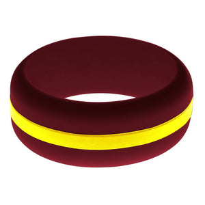 Mens Cardinal Red Silicone Ring with Yellow Changeable Color Band