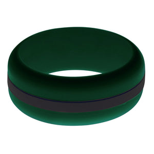 Mens Dark Green Silicone Ring with Black Changeable Color Band