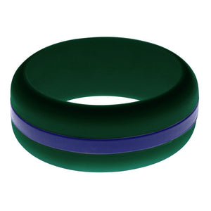 Mens Dark Green Silicone Ring with Blue Changeable Color Band