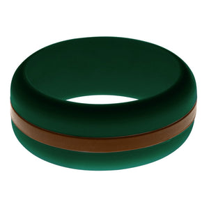 Mens Dark Green Silicone Ring with Brown Changeable Color Band