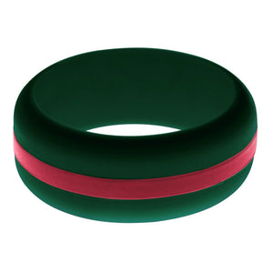 Mens Dark Green Silicone Ring with Cardinal Red Changeable Color Band