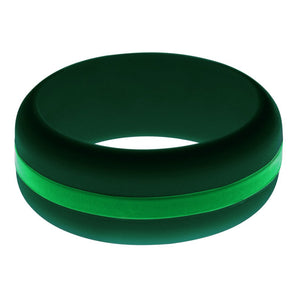 Mens Dark Green Silicone Ring with Green Changeable Color Band