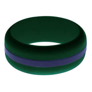 Mens Dark Green Silicone Ring with Navy Blue Changeable Color Band