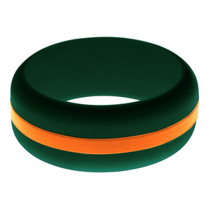 Mens Dark Green Silicone Ring with Orange Changeable Color Band