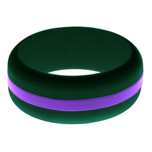 Mens Dark Green Silicone Ring with Purple Changeable Color Band