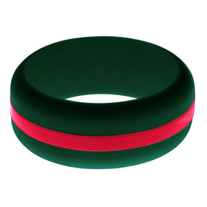 Mens Dark Green Silicone Ring with Red Changeable Color Band