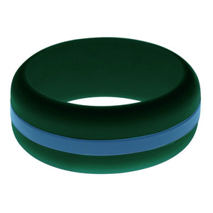 Mens Dark Green Silicone Ring with Steel Blue Changeable Color Band