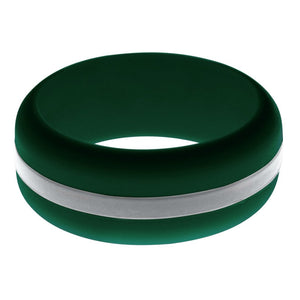 Mens Dark Green Silicone Ring with Silver Changeable Color Band