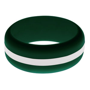 Mens Dark Green Silicone Ring with White Changeable Color Band