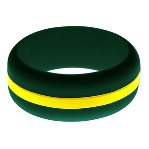 Mens Wildland Firefighter Silicone Ring Dark Green with Thin Yellow Line Changeable Color Band