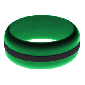 Mens Green Silicone Ring with Black Changeable Color Band