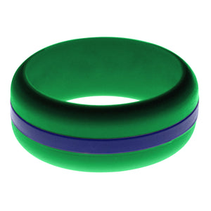 Mens Green Silicone Ring with Blue Changeable Color Band