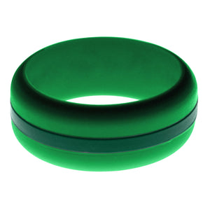 Mens Green Silicone Ring with Dark Green Changeable Color Band