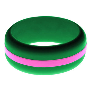 Mens Green Silicone Ring with Hot Pink Changeable Color Band