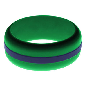 Mens Green Silicone Ring with Navy Blue Changeable Color Band