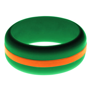 Mens Green Silicone Ring with Orange Changeable Color Band